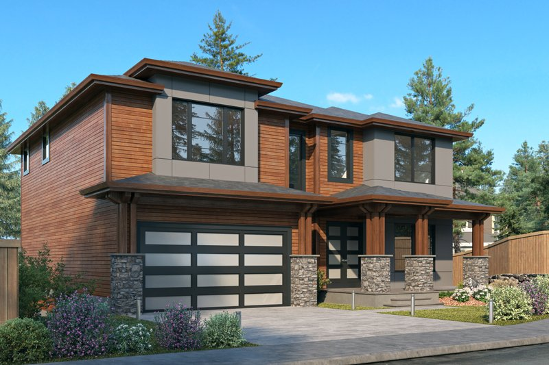 House Blueprint - Contemporary Exterior - Front Elevation Plan #1066-130