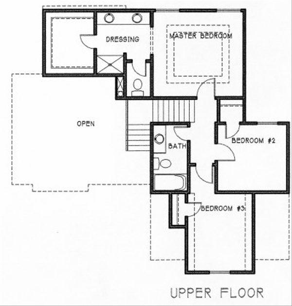Traditional Floor Plan - Upper Floor Plan #6-111
