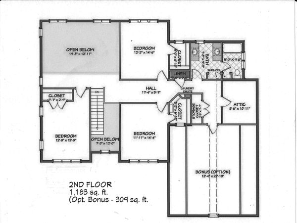 Upper Level floor plan - 3500 square foot Traditional home