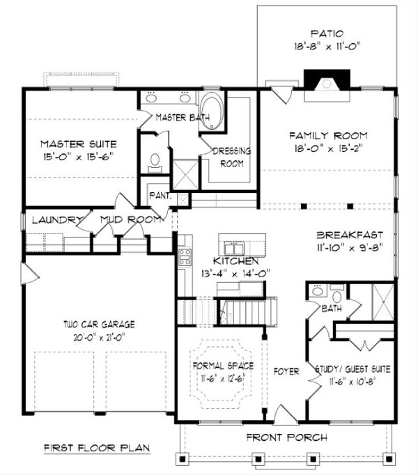 Bungalow Floor Plan - Main Floor Plan Plan #413-880