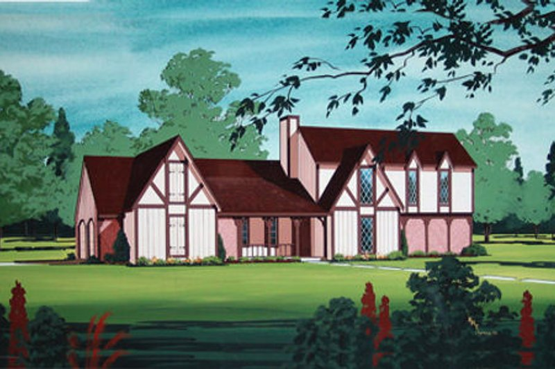 European Style House Plan - 3 Beds 2 Baths 1936 Sq/Ft Plan #45-339 Exterior - Front Elevation