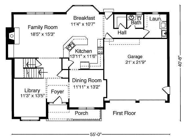 Traditional Floor Plan - Main Floor Plan Plan #46-396