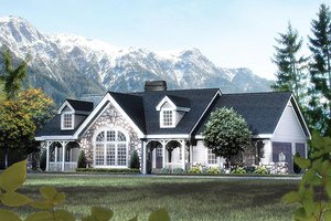 Architectural House Design - Country Exterior - Front Elevation Plan #57-342