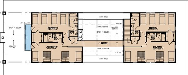 Craftsman Floor Plan - Upper Floor Plan Plan #923-10