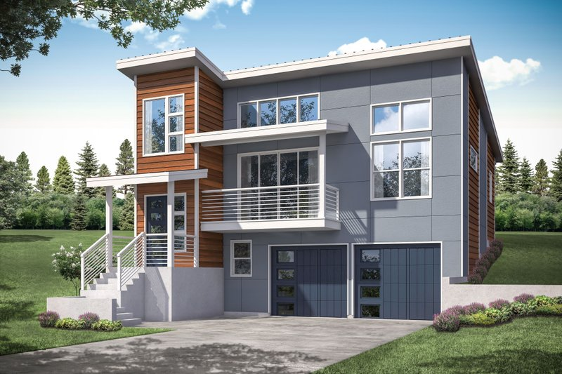 Architectural House Design - Contemporary Exterior - Front Elevation Plan #124-1172
