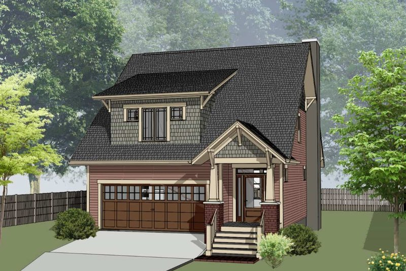 Bungalow Style House Plan - 3 Beds 2.5 Baths 950 Sq/Ft Plan #79-275 Exterior - Front Elevation