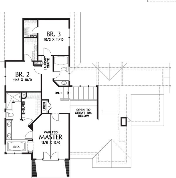 Upper floor plan - 3150 square foot craftsman home