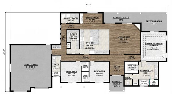 House Plan Design - Craftsman Floor Plan - Main Floor Plan #1077-2