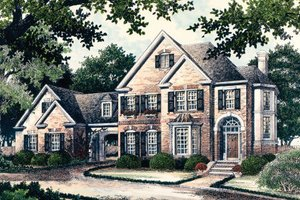 European Exterior - Front Elevation Plan #429-12