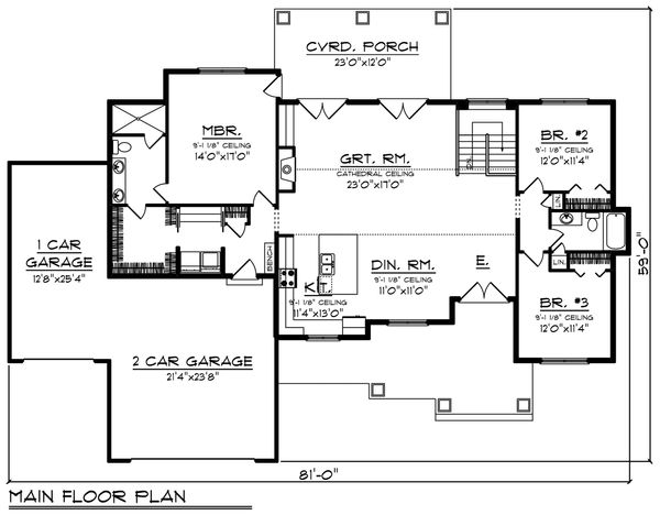 Craftsman Floor Plan - Main Floor Plan #70-1479