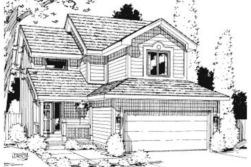Traditional Style House Plan - 4 Beds 2.5 Baths 1852 Sq/Ft Plan #20-588 Exterior - Front Elevation