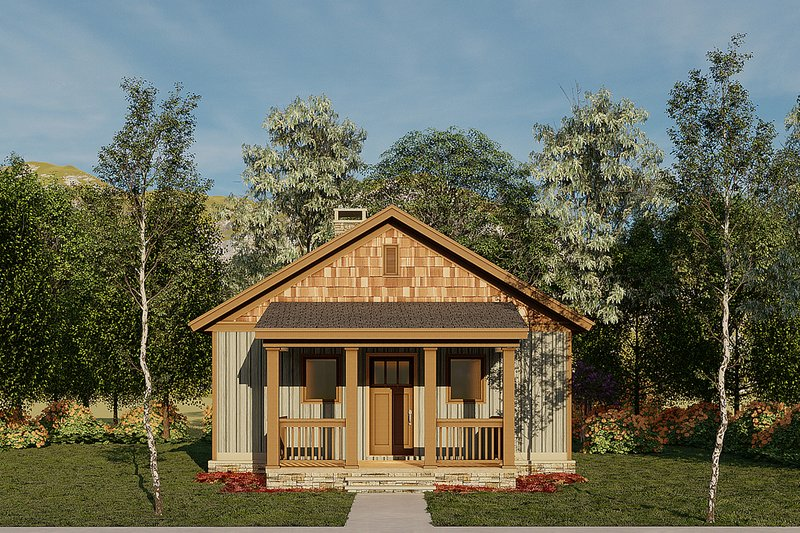 Country Style House Plan - 2 Beds 1 Baths 691 Sq/Ft Plan #17-2604 Exterior - Front Elevation