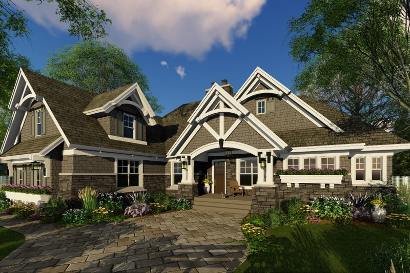 Cottage Style House Plan - 4 Beds 3 Baths 2465 Sq/Ft Plan #51-568 Exterior - Front Elevation