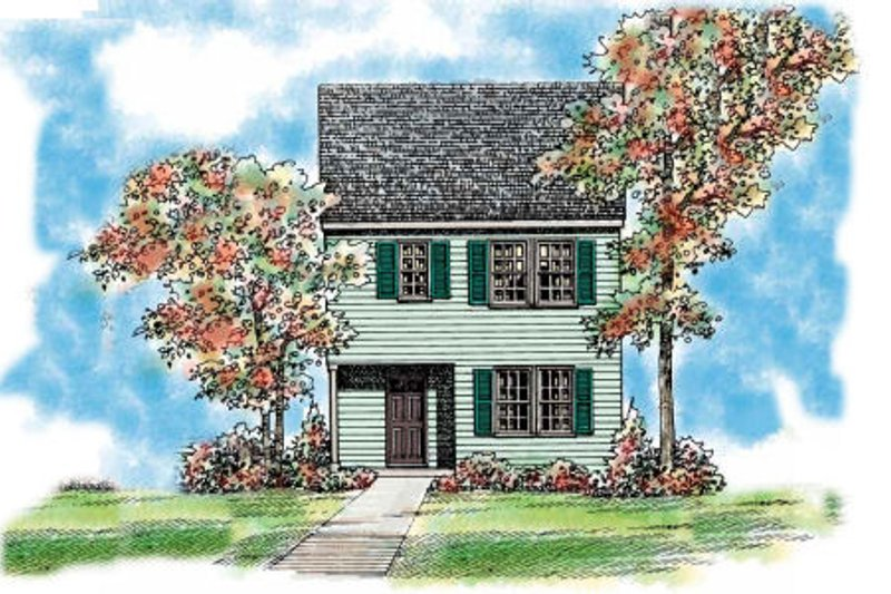 House Blueprint - Colonial Exterior - Front Elevation Plan #72-476