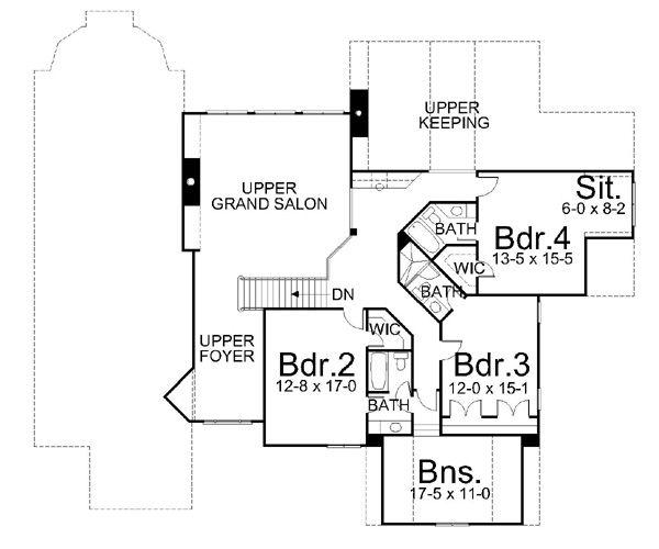 European Floor Plan - Upper Floor Plan Plan #119-251