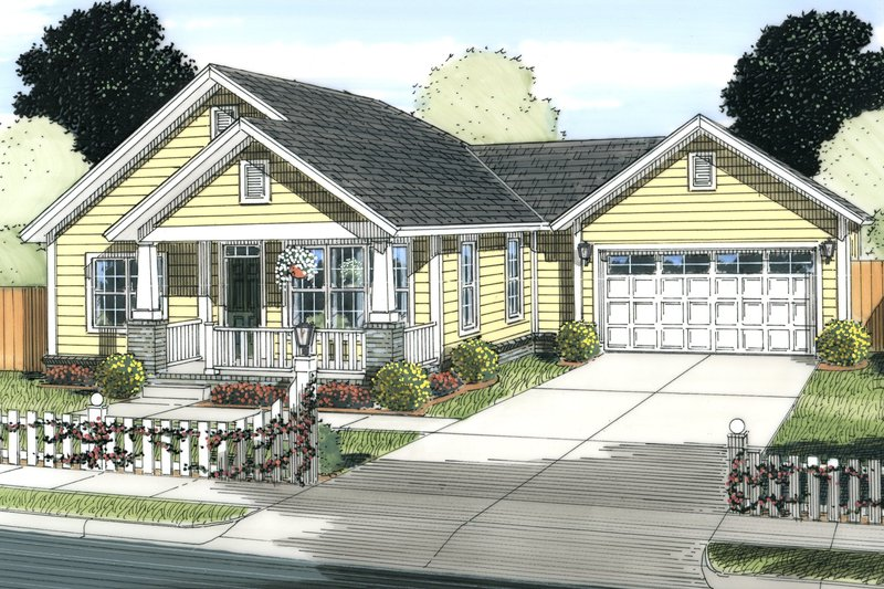 Cottage Exterior - Front Elevation Plan #513-2083