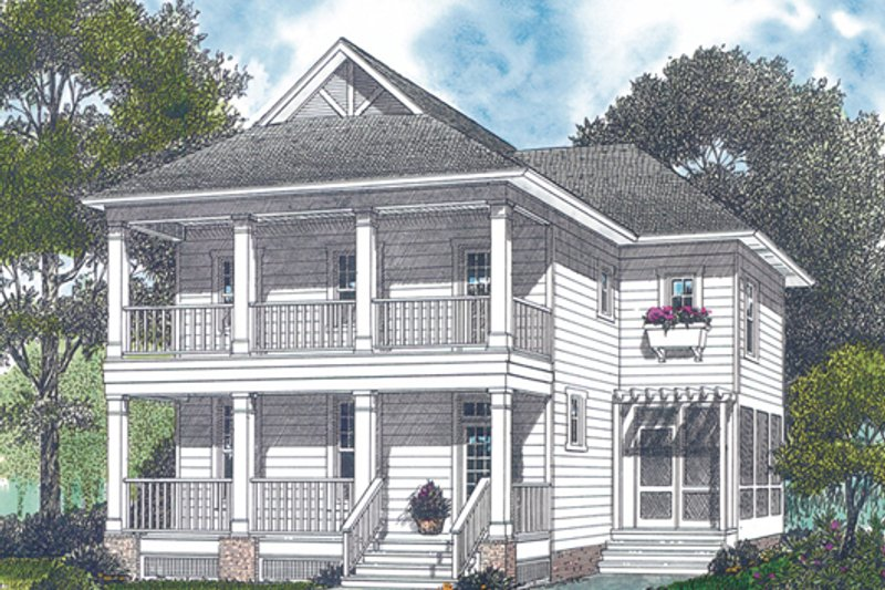 Architectural House Design - Colonial Exterior - Front Elevation Plan #453-1