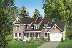 Country Exterior - Front Elevation Plan #25-4559