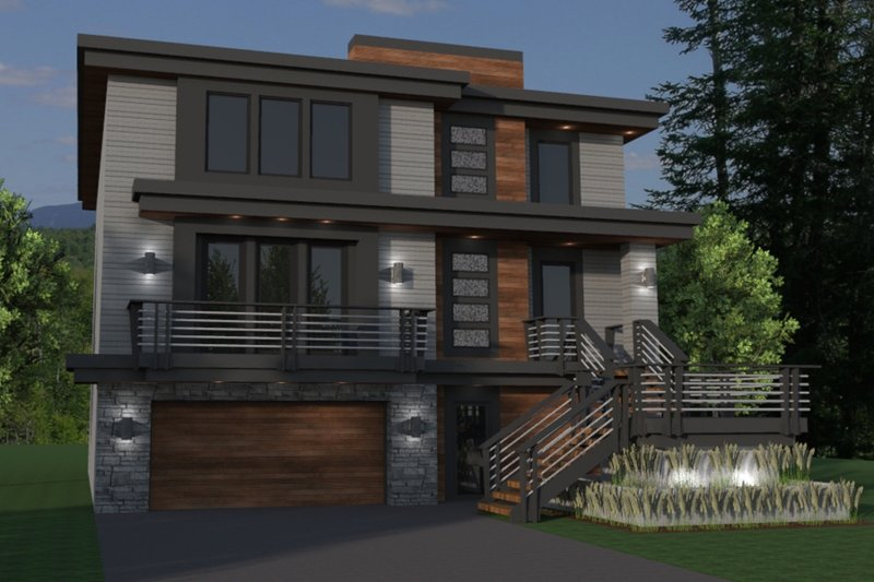 Contemporary Style House Plan - 5 Beds 4.5 Baths 4301 Sq/Ft Plan #51-580 Exterior - Front Elevation