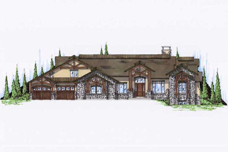 Craftsman Style House Plan - 6 Beds 6 Baths 4356 Sq/Ft Plan #5-345 Exterior - Front Elevation
