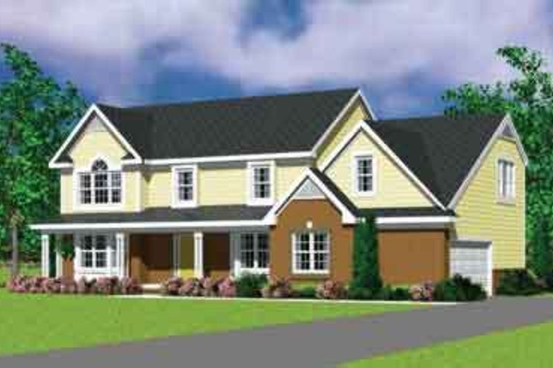 House Blueprint - Traditional Exterior - Front Elevation Plan #72-480