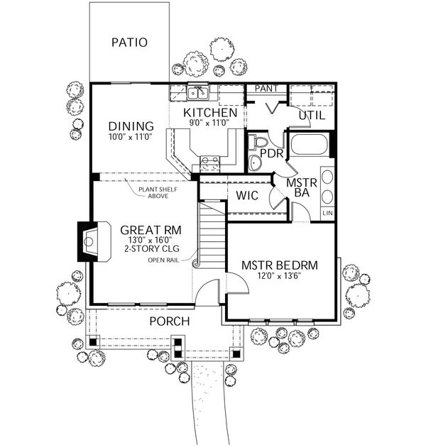 Traditional Floor Plan - Main Floor Plan Plan #80-105