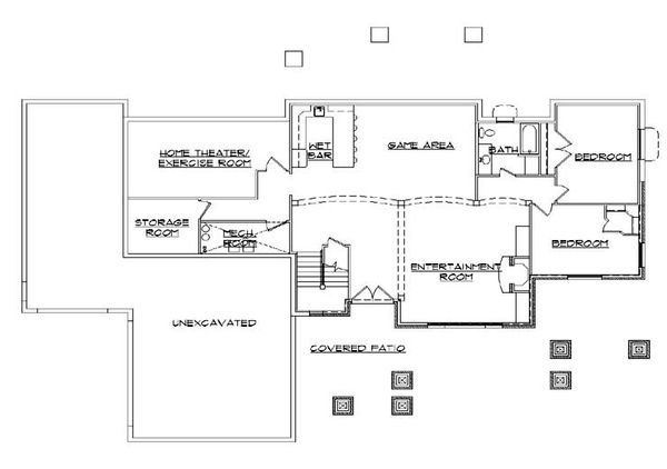 Craftsman Floor Plan - Lower Floor Plan #5-277