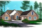 European Style House Plan - 4 Beds 3.5 Baths 2539 Sq/Ft Plan #15-143 Exterior - Front Elevation