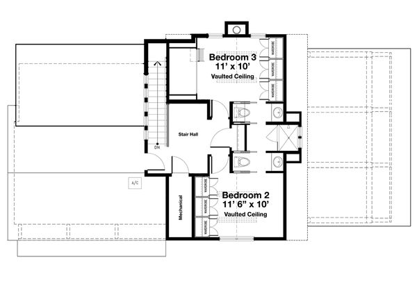 Beach Floor Plan - Upper Floor Plan #443-20