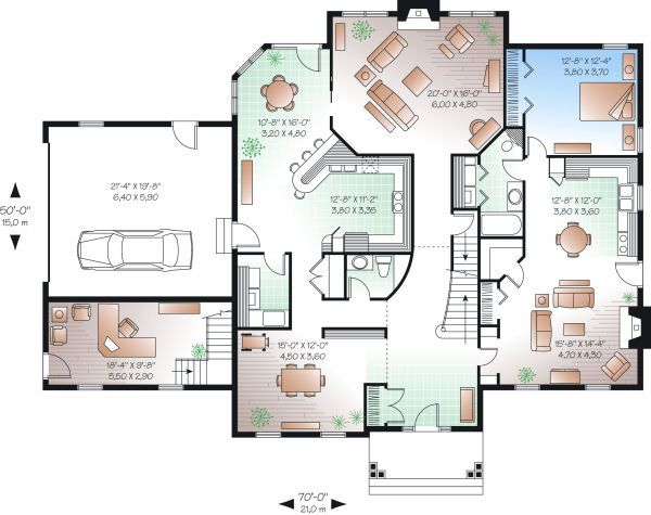 Colonial Floor Plan - Main Floor Plan Plan #23-724