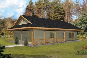 Log Exterior - Front Elevation Plan #117-547