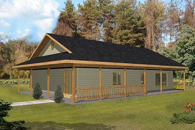 Log Style House Plan - 3 Beds 3 Baths 2640 Sq/Ft Plan #117-547 Exterior - Front Elevation
