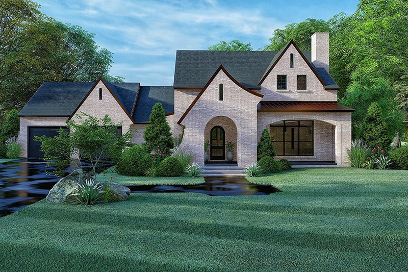 European Style House Plan - 4 Beds 3 Baths 2577 Sq/Ft Plan #923-167 Exterior - Front Elevation