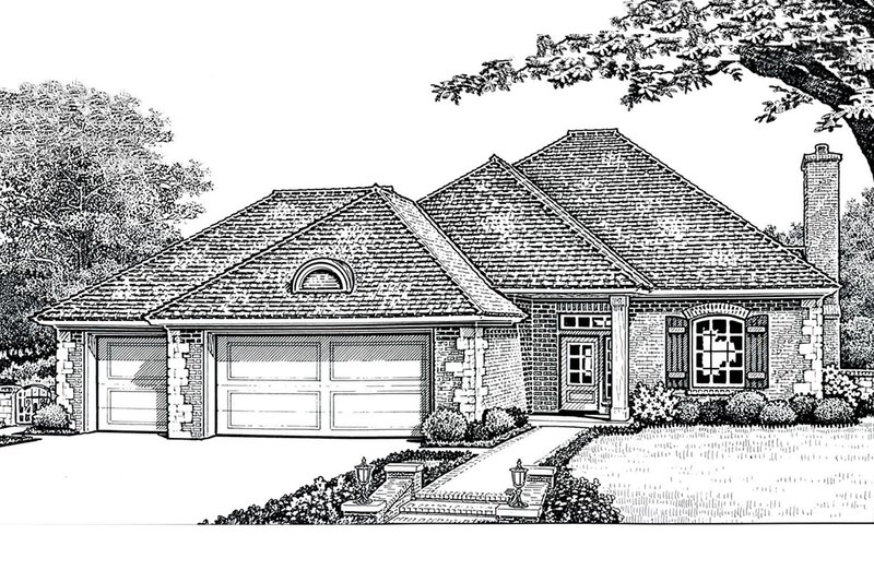 European Style House Plan - 3 Beds 2 Baths 1641 Sq/Ft Plan #310-292 Exterior - Front Elevation