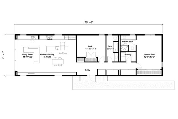 Modern Floor Plan - Main Floor Plan Plan #497-24