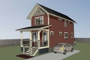 Craftsman Style House Plan - 2 Beds 2.5 Baths 1033 Sq/Ft Plan #79-278 Exterior - Rear Elevation