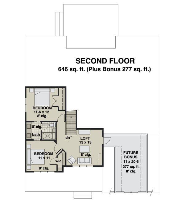 Farmhouse Floor Plan - Upper Floor Plan #51-1167