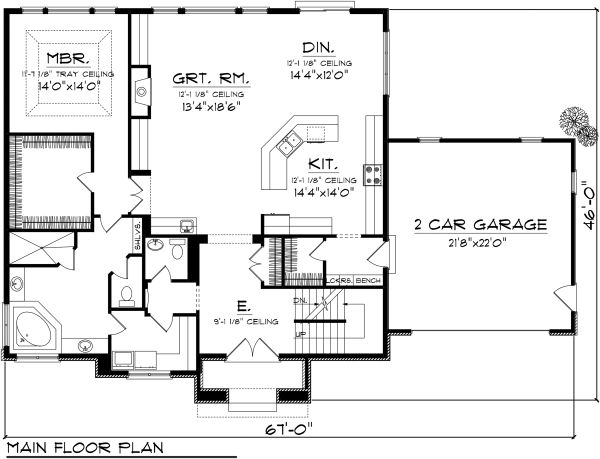 Tudor Floor Plan - Main Floor Plan Plan #70-1139