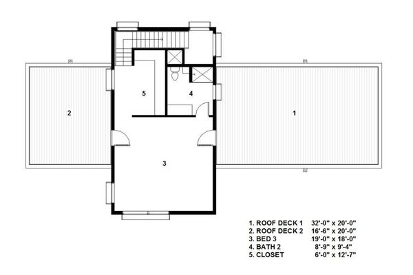 Modern Floor Plan - Upper Floor Plan Plan #497-54