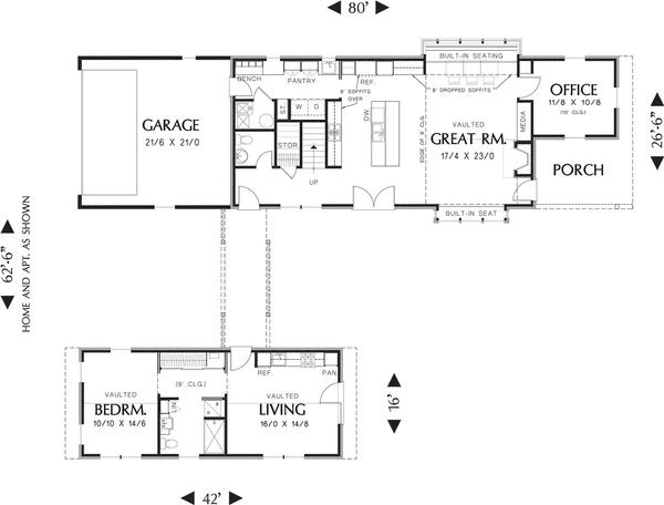 Contemporary Floor Plan - Main Floor Plan Plan #48-661