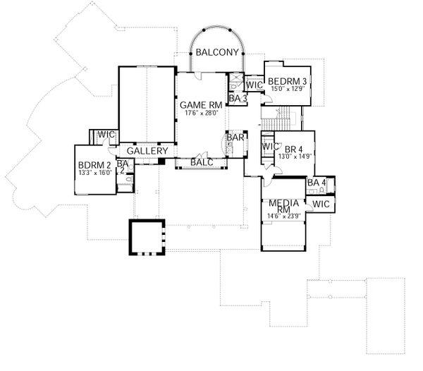Mediterranean Floor Plan - Upper Floor Plan Plan #80-215