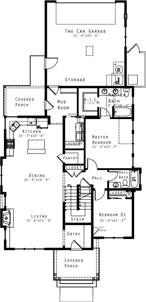 Craftsman Floor Plan - Main Floor Plan Plan #434-16