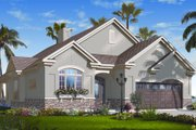 Mediterranean Style House Plan - 3 Beds 2.5 Baths 1901 Sq/Ft Plan #23-2217 Exterior - Front Elevation