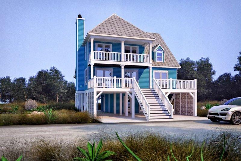 Beach Style House Plan - 4 Beds 3 Baths 1863 Sq/Ft Plan #37-115