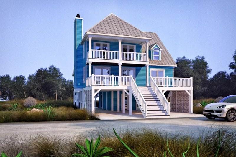 Architectural House Design - Beach Exterior - Front Elevation Plan #37-115