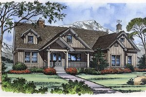 House Blueprint - European Exterior - Front Elevation Plan #417-239