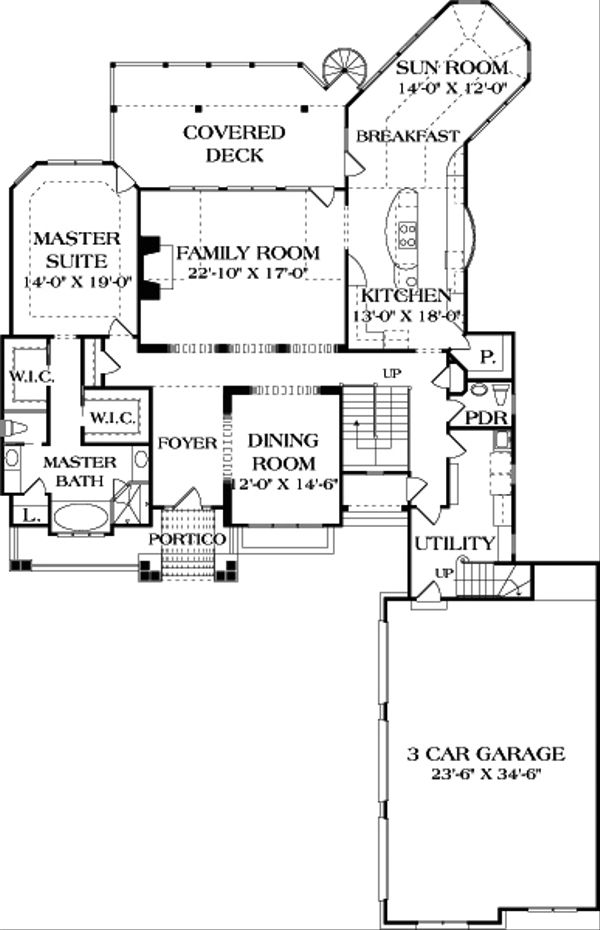 Craftsman Floor Plan - Main Floor Plan Plan #453-638