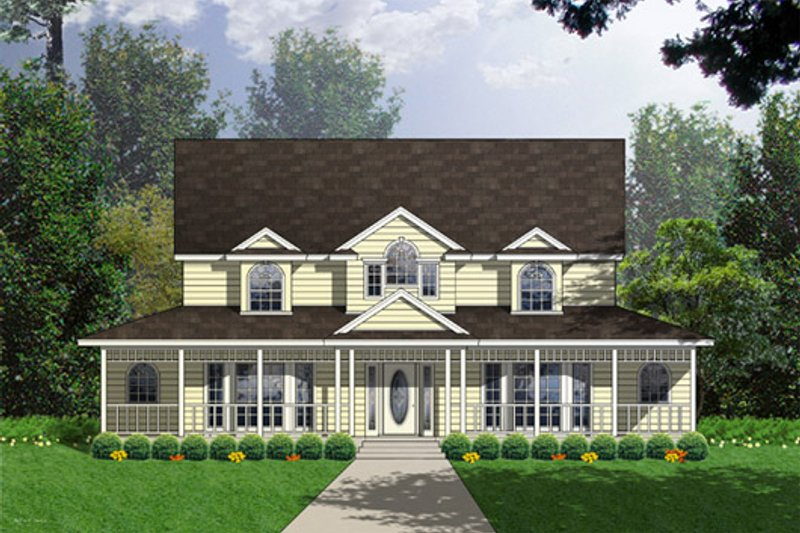 Country Exterior - Front Elevation Plan #40-438 - Houseplans.com