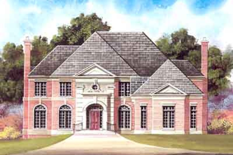 European Style House Plan - 4 Beds 4 Baths 3324 Sq/Ft Plan #119-202 Exterior - Front Elevation