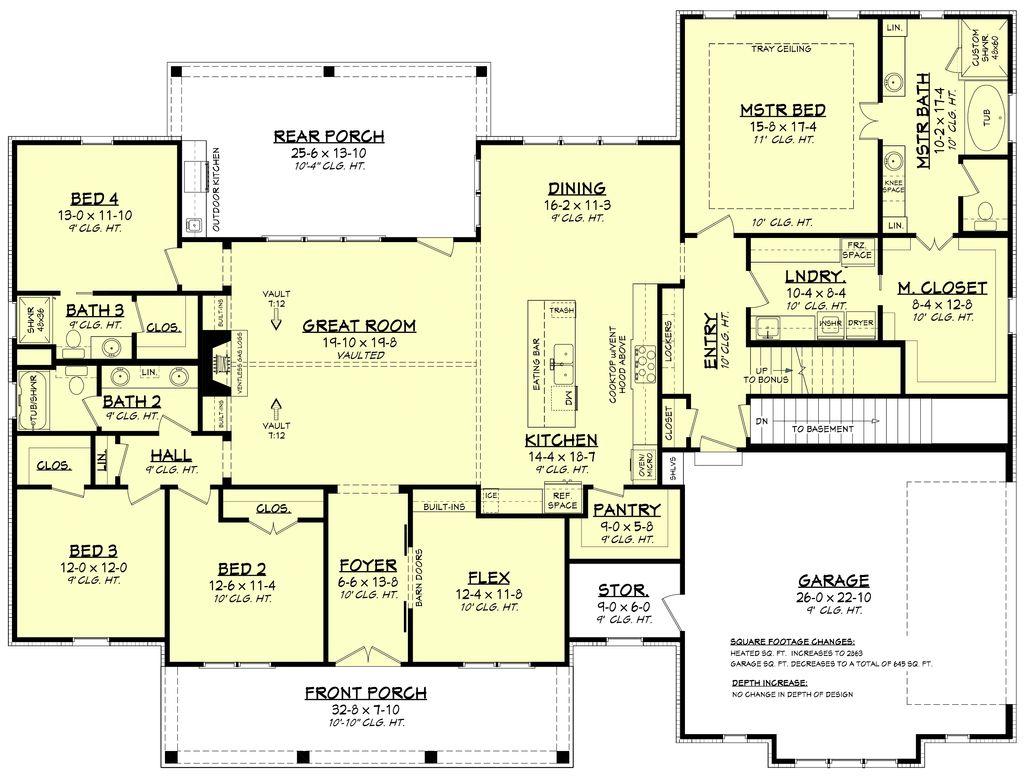Craftsman Style House Plan 4 Beds 3 Baths 2832 Sq Ft Plan 430 201 Houseplans Com
